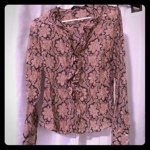 Zara floral patterned ruffle blouse